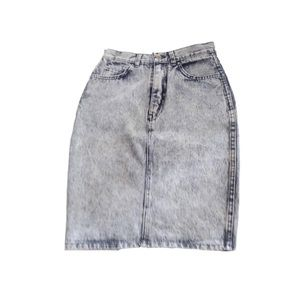 Vintage grey denim acid wash skirt body con